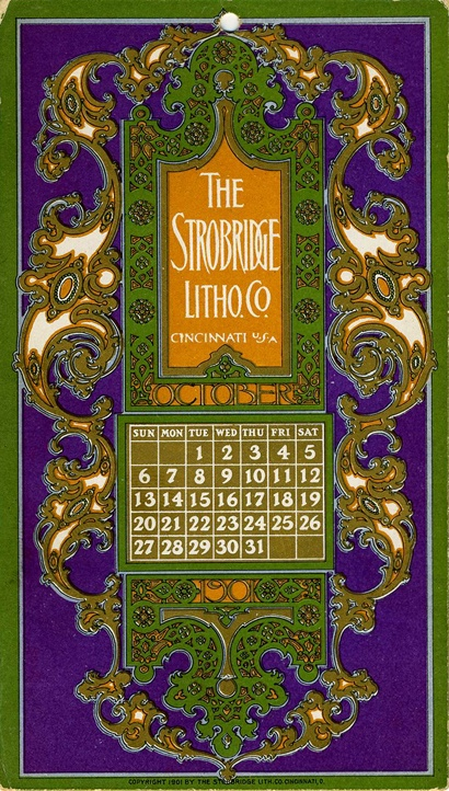 October, 1901, Strobridge Lithographing Company, from the Strobridge Calendar Card Samples, 1899-1912.