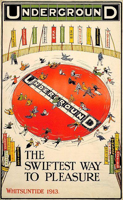 Forgotten LU Posters: The swiftest way to pleasure, Whitsun joy wheel; by Charles Sharland, 1913. Via The Telegraph.