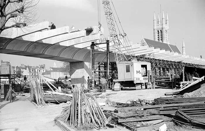 The Hammersmith Flyover under construction, 1961