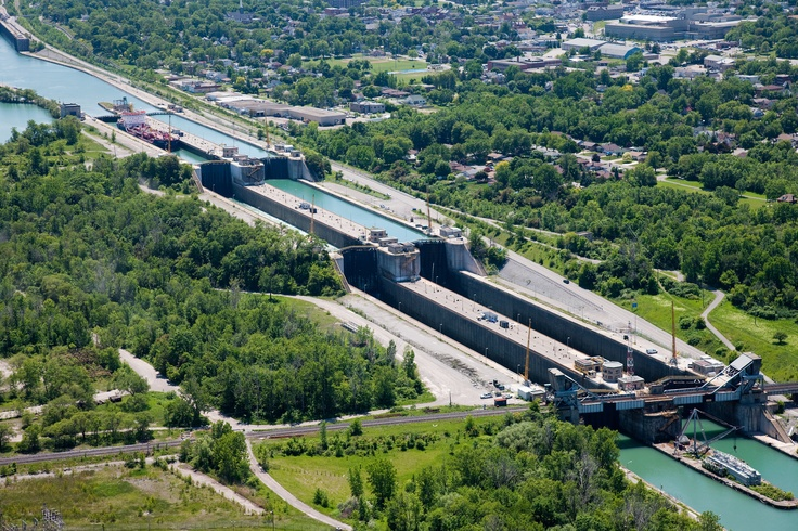 The Welland Canal extends 42 km (26 mi) from Port Weller, Ontario, on Lake Ontario, to Port Colborne, Ontario, on Lake Erie. As a part of the St. Lawrence Seaway, this canal enables ships to ascend and descend the Niagara Escarpment and to bypass Niagara Falls. http://en.wikipedia.org/wiki/Welland_Canal