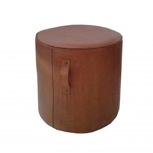 Leather Pouffe Tall - Tan
