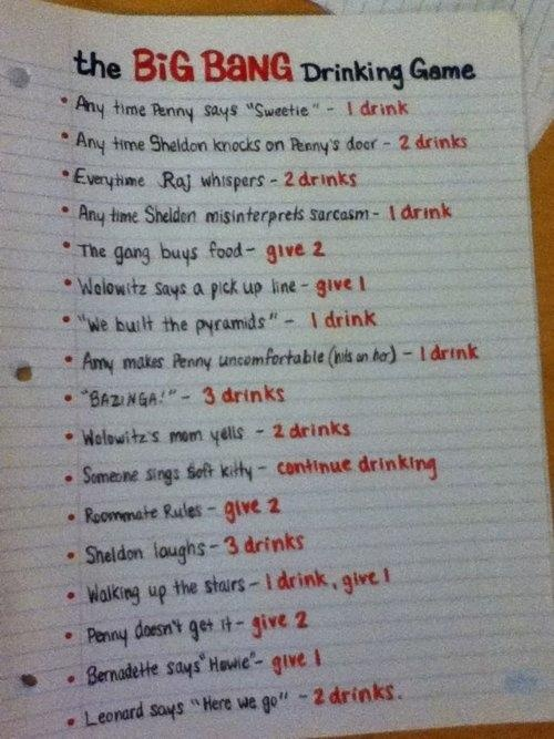 the big bang drinking game...if only I were in college again...