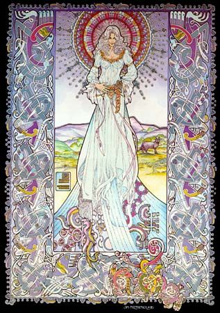 Fodla - Celtic goddess of sovereignty.  Part of a trinity of goddesses along with Eriu and Banba.  Daughters of Ernmas