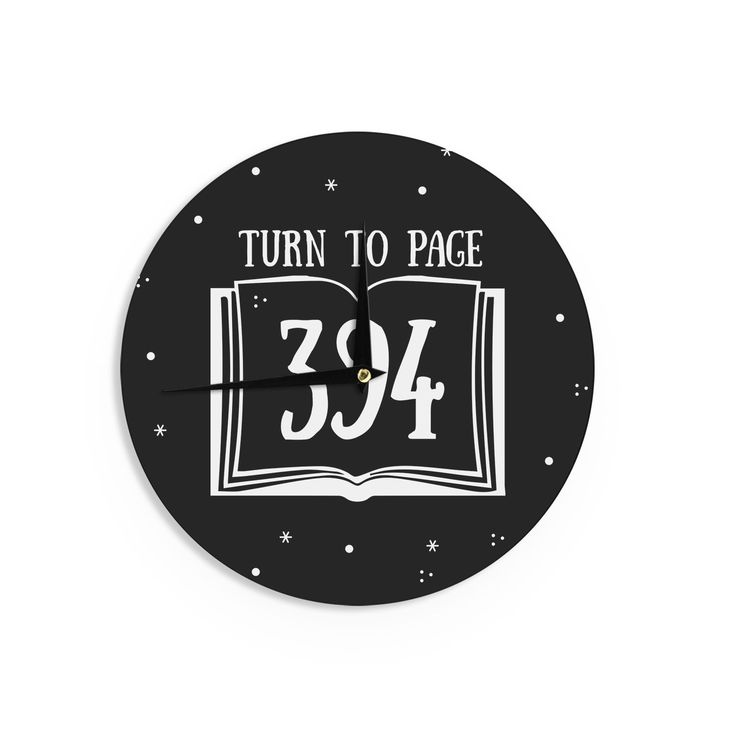 Kess InHouse Jackie Rose 'Turn To Page 394' Black Pop Art Wall Clock (Turn To Page 394), Multi, Size 12 (Wood)