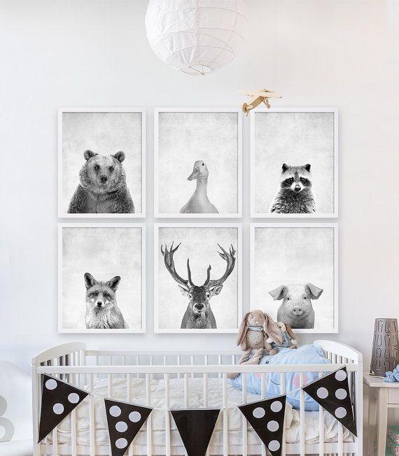 Zes dieren Prints jongens kwekerij kamer ideeën bos dieren kwekerij Art grijs kwekerij Decor Bear Print herten geweien Print Babys kamer Art Print
