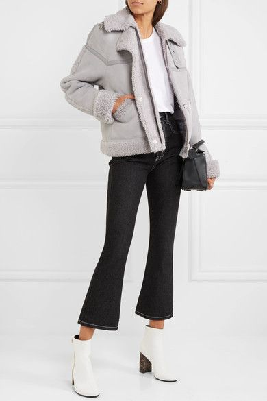 Victoria, Victoria Beckham | Oversized leather-trimmed shearling jacket | NET-A-PORTER.COM