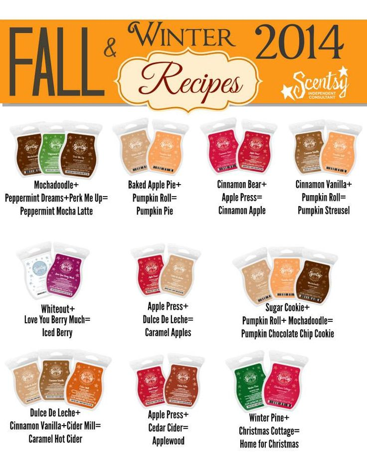 Check out these Fall/Winter 2014 #ScentsyRecipes :) http://taneshaholleman.scentsy.us www.facebook.com/taneshasscents