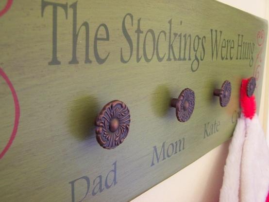 Personalized Stocking Holder  Wooden Sign 8 x 24 With Free Santa Key - Christmas Customized Stocking Holder. $45.00