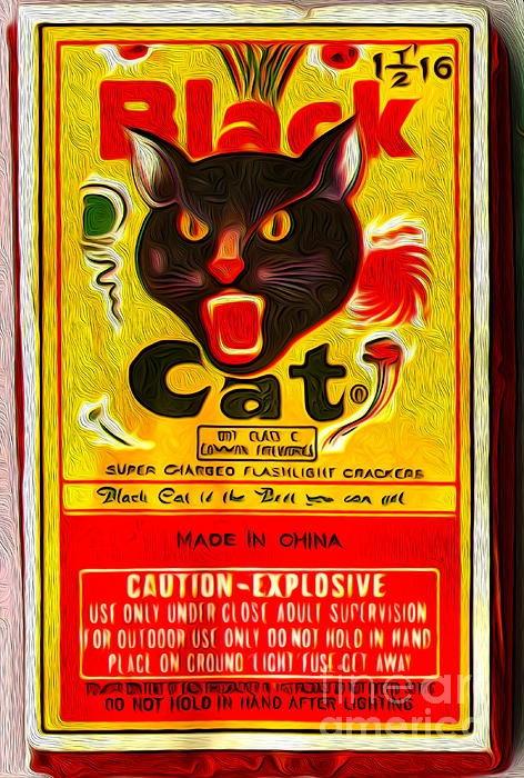 A painted image of a Black Cat Fireworks package