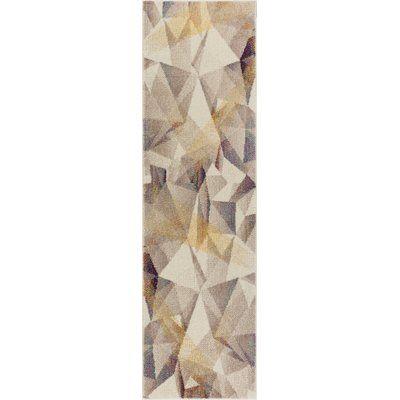 "George Oliver Camren Modern Geometric Prisma Triangle Beige Area Rug Rug Size: 7'10"" x 10'6"""