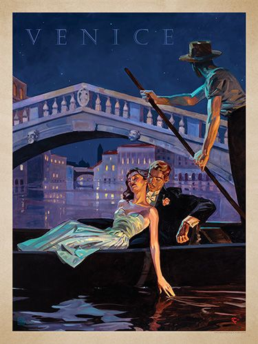 Italy: An Evening in Venice - This series of romantic travel art is made from original oil paintings by artist Kai Carpenter. Styled in an Art Deco flair, this adventurous scene is sure to bring a smile and a smooch to any classic poster art lover!<br />