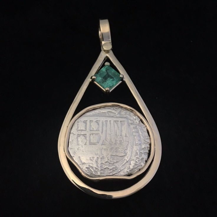 Authentic Atocha Silver Coin, Grade 2, 2 Reales, Mounted in 14K Gold, Emerald 1.48, (This mount can be placed on any unmounted coin).