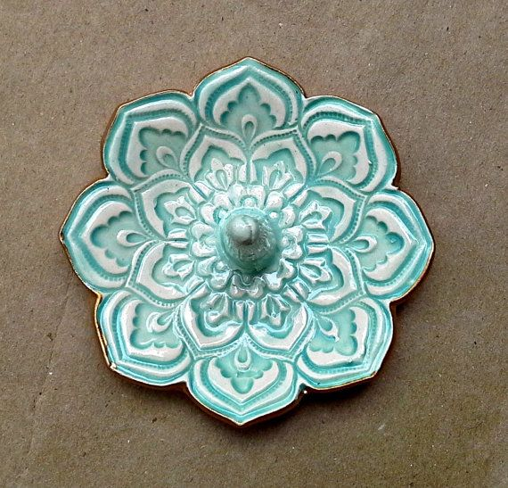 Ceramic Aqua Lotus Ring Holder Bowl gold edged 3 1/4 by dgordon