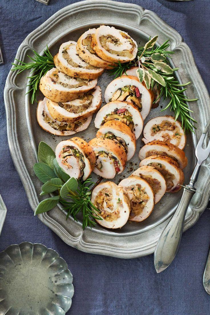 Turkey Roulade 3 Ways- Fennel Apple, Bacon Mushroom, Sausage Corn Bread