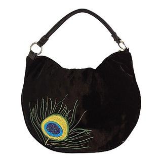 """Peacock"" silk velvet shoulder bag with leather handle"