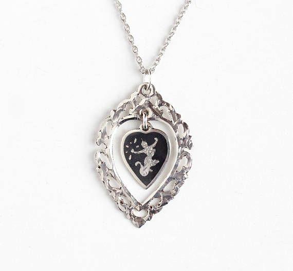 Vintage Sterling Silver Siam Filigree Heart Pendant Necklace - 1940s Mekkala Goddess Of Lightning Dark Niello Ramakien Lavalier Thai Jewelry by Maejean Vintage on Etsy