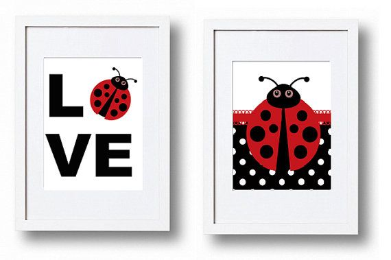Ladybug Love pictures red black and white Set of 2 by PinkPopRoxx, $6.00