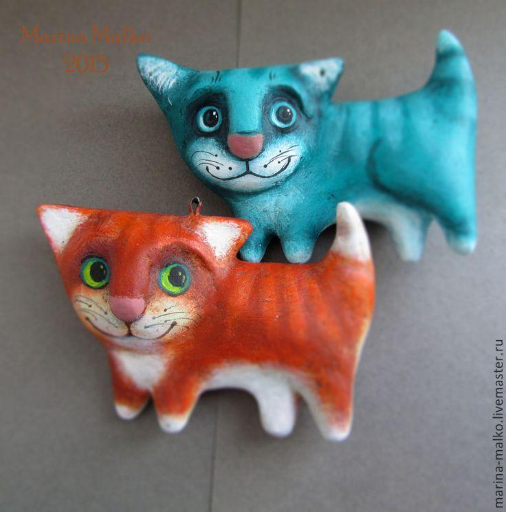 Купить Ёлочная игрушка. Мартовские коты. - разноцветный, рыжий, бирюзовый, кот, коты ручной работы