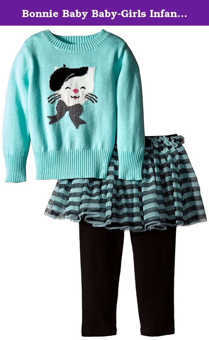 Bonnie Baby Baby-Girls Infant Cat Intarsia Sweater Legging and Skirt Set (6-9 Months, Aqua). 2 piece set - Stripe mesh tutu - Satin bow front - Cat embroidery. Matching/Coordinating sister styles available in sizes 3M-6X, reference style BNJ-5620.