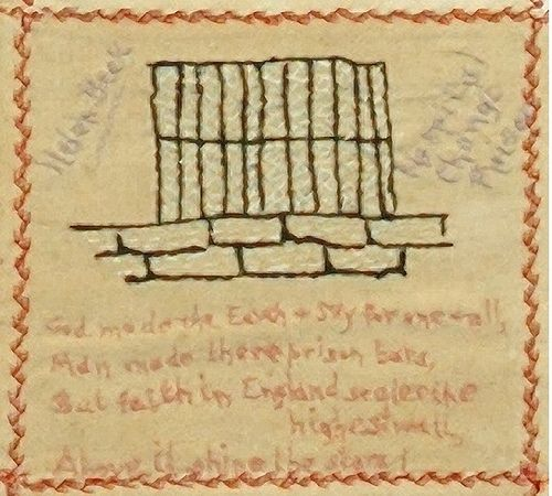 """One of the squares in the Changi quilt.   """"Helen Beck was interned with her husband. They were British but living in Ipoh. He had been the chief of police at Perak before the war. Her square shows prison bars and a brick wall beside the words 'Hospital, Changi Prison'. The caption below reads:    God made the earth and sky for one and all,  Man made these prison bars.  But faith in England scales the highest wall,  Above it shine the stars."""""""