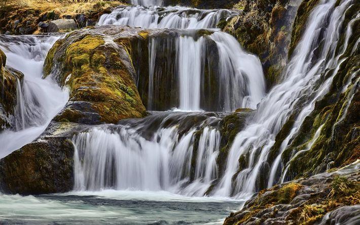Download wallpapers waterfall, stones, lake, beautiful landscape Iceland, rocks