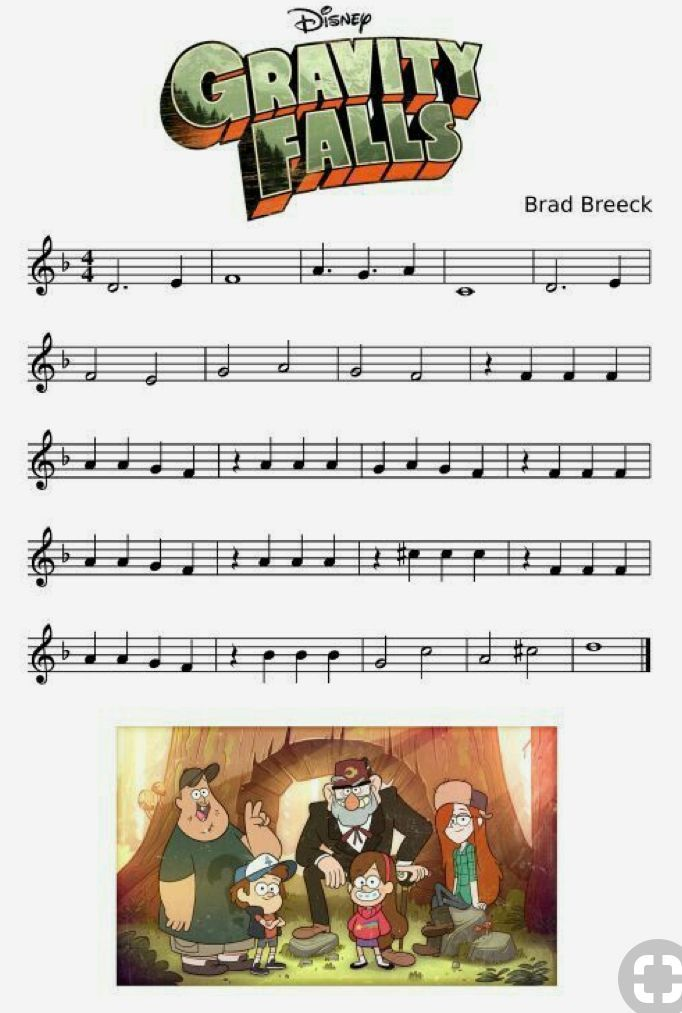 Notas Da Musica De Gravity Falls Pianomusic With Images