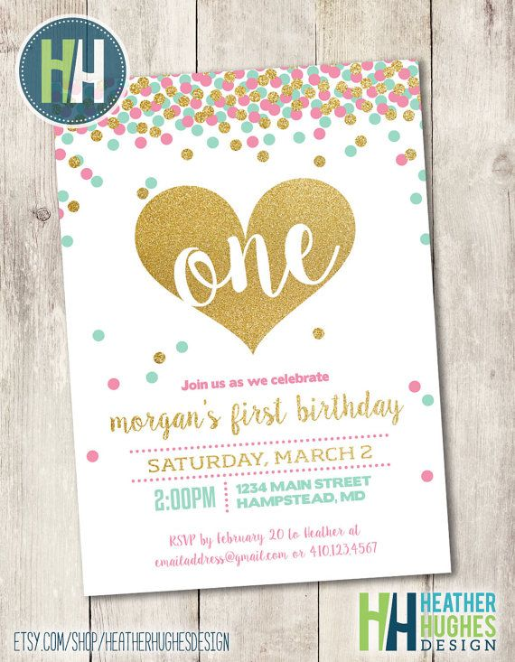 girl first birthday invite, 1st birthday printable invitation, mint pink and gold glitter confetti heart invite customize personalize