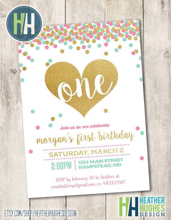 girl first birthday invite, 1st birthday printable invitation, mint pink and gold glitter confetti heart invite customize personalize
