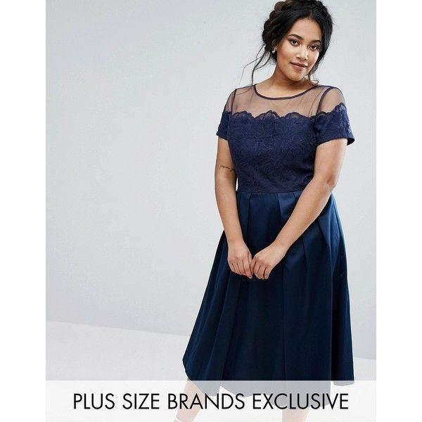 Chi Chi London Plus Embroidered Mesh Bodice Dress With Sateen Skirt (405 SAR) ❤ liked on Polyvore featuring dresses, navy, zipper dress, navy plus size dress, womens plus size cocktail dresses, navy blue cocktail dress and plus size dresses