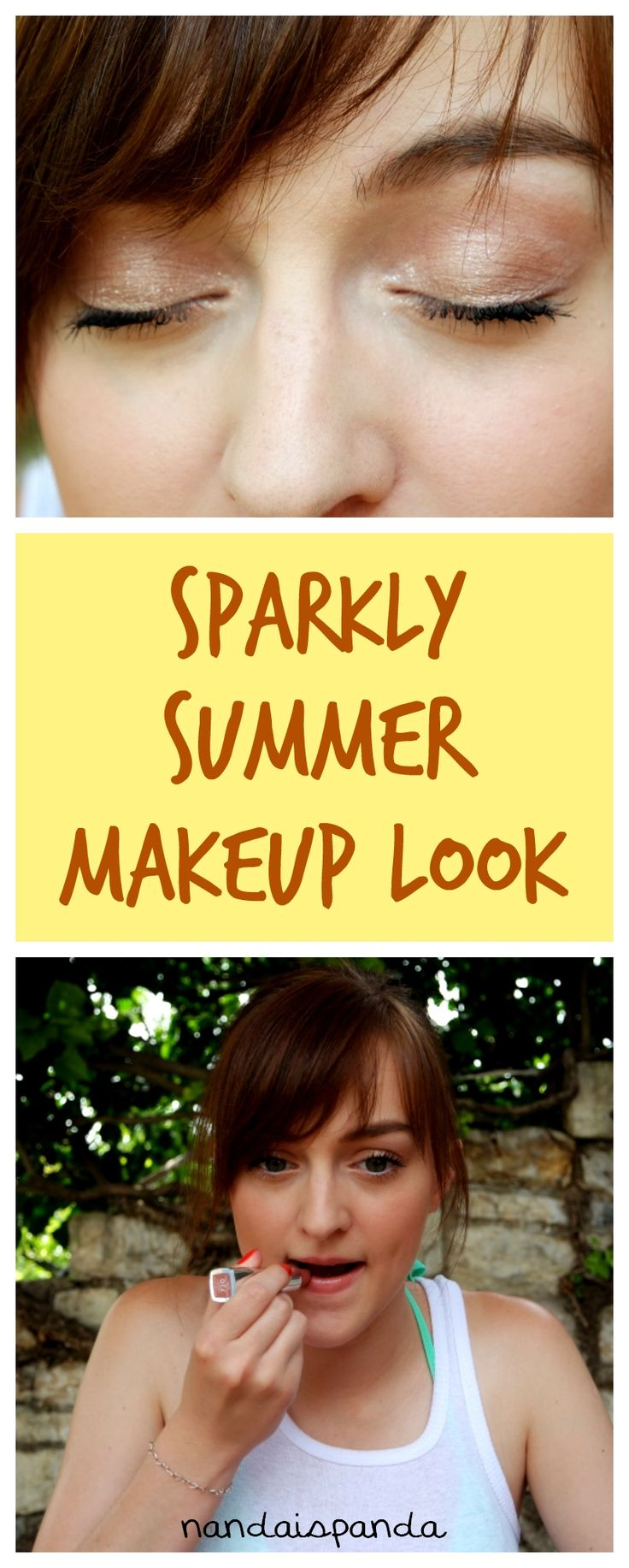 makeup, makeup look, makeup idea, makeup tutorial, how to, step by step, easy, sparkly summer look, affordable, budget, drugstore, natural look