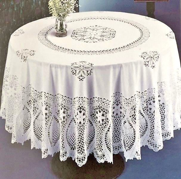 Crochet Lace Pineapple Vinyl Tablecloth White Vintage Look Dining