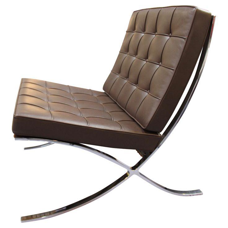 fauteuil barcelona cuir chocolat par ludwig mies van der. Black Bedroom Furniture Sets. Home Design Ideas