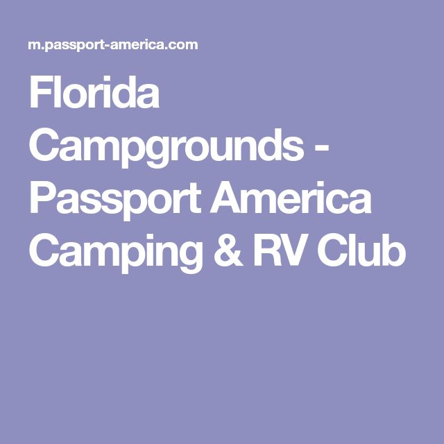 Florida Campgrounds - Passport America Camping & RV Club