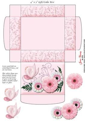 """Gift Cake Box Pink White Gerberas on Craftsuprint designed by June Young - This gift/cake box is approx. 4"""" x 3"""" when made up and has floral side panels and a decorated lid. It is very simple to assemble and there is decoupage provided for the flower and butterfly decoration on the lid. - Now available for download!"""