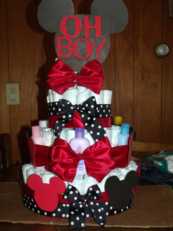 My very first diaper cake! Mickey Mouse! Oh Boy!