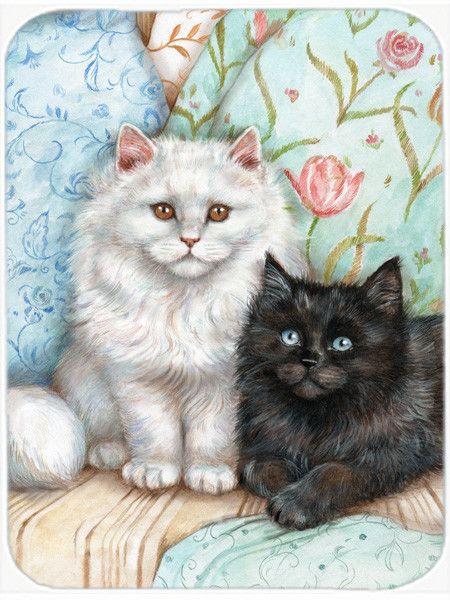 Caroline's Treasures Black and White Cat Glass Cutting Board