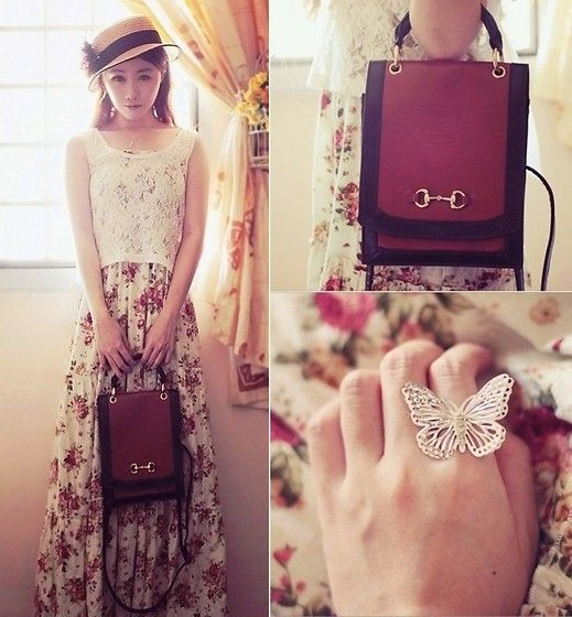 J Pure Floral Maxi Dress, Jeanasis Two Tone Vintage Bag, Accessorize Butterfly Ring, Emoda Lace Top