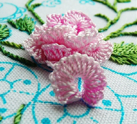 """I ❤ embroidery . . . A Full-Blown Rose - Brazilian Embroidery- Recently I was fortunate to be able to market some designs for Ruth Griffith. This picture is her """"Full-Blown Rose"""" - one of several different roses on her """"Mini-Roses"""" design, which I sell for her. ~By Ruth Griffith"""