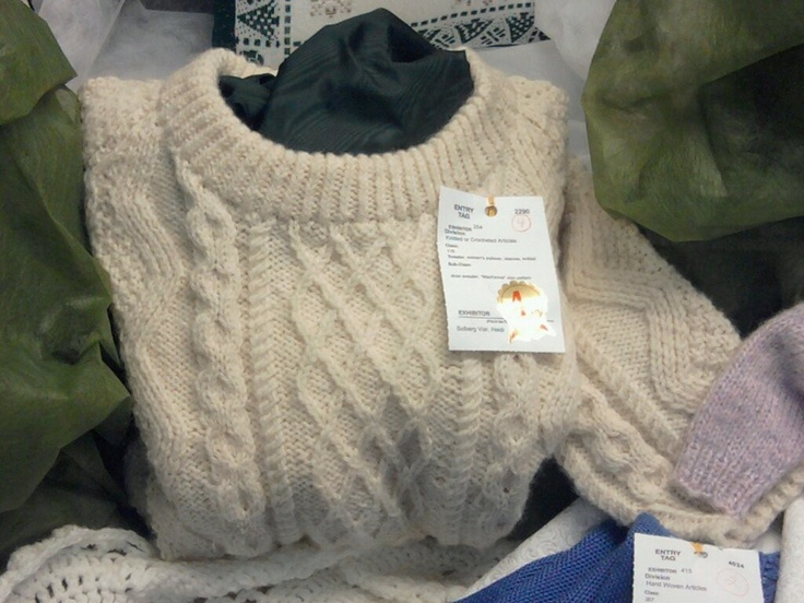 Aran sweater that won 4th prize at the Wisconsin State Fair.