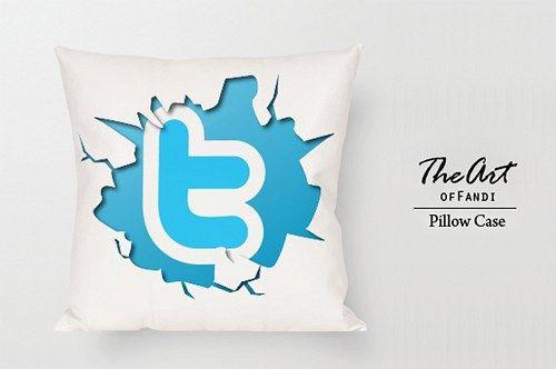 "Twitter - Custom Square 18""x18"" One Side Pillow Case"