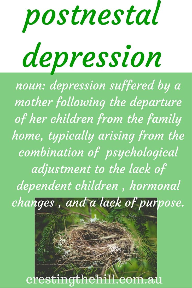 a phrase I have coined for midlife women who are struggling with empty nest syndrome. For encouragement and inspiration come visit me  at http://www.crestingthehill.com.au