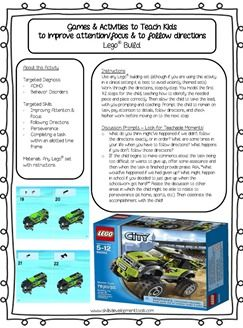 Free Games and Activities to teach children coping skills. Lego activity to teach children to follow directions and improve attention and focus. Great for teaching coping skills for children diagnosed with ADHD, ODD, and other behavior disorders!
