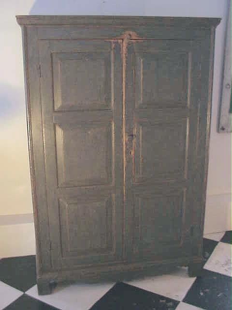 Rare French Canadian Painted Pine Armoire With 12 Raised