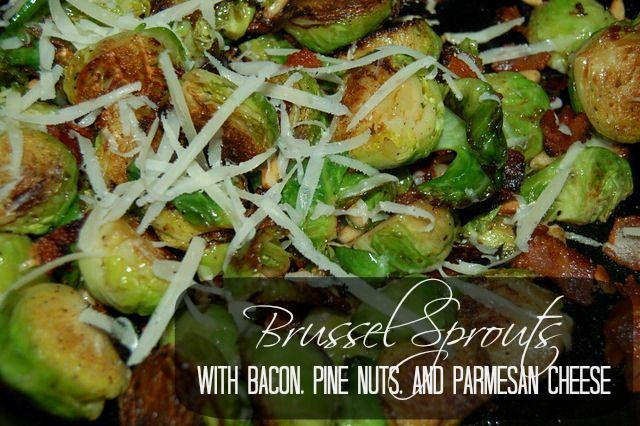 brussel sprouts, brussel sprouts recipe, brussel sprouts with bacon, pine nuts & cheese