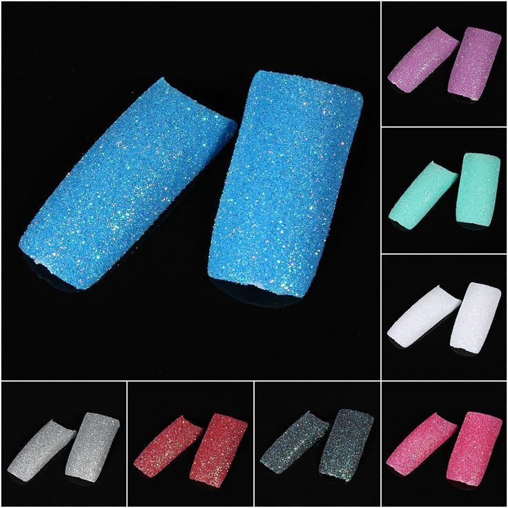100pcs Stunning Glitter Slice False French Acrylic Nail Tips Color:Silver,Red,Black,White,Green,Rose red,Purple,Blue (choose the one you like) Due to the difference between different monitors, the picture may not reflect the actual color of the item. Please consider you mind or not before buying.
