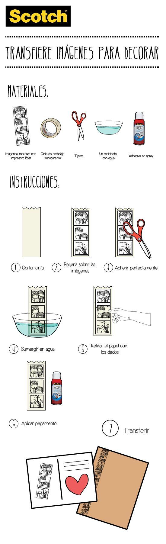 Ideas, Manualidades y Scrapbooking: Transfiere fotos con cinta adhesiva Scotch®…