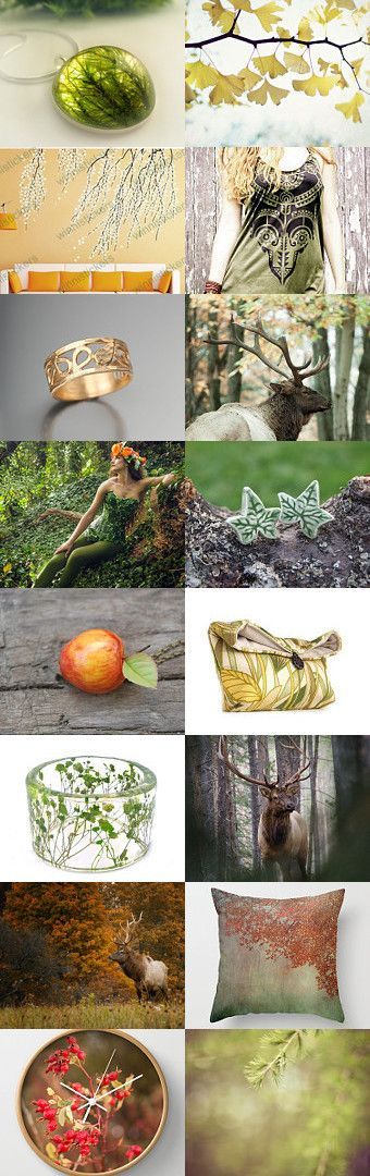 Nature by Viktoria Schuster on Etsy--Pinned with TreasuryPin.com  apple autumn botanical deer elk evergreen fall forest ginko green ivy leafy moss nature resin rosehip wildlife woodland