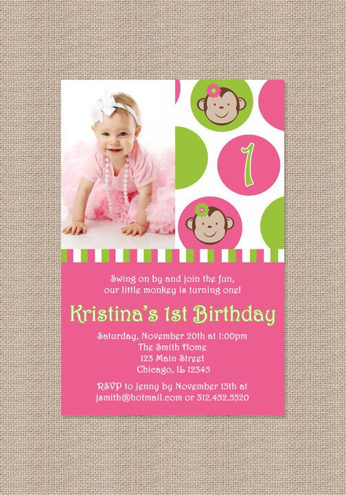Pink Mod Monkey Birthday Party Invitation by Honeyprint on Etsy, $12.50