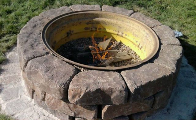 Before: Used Tire Rims Landfills are full of steel rims available for cheap. After: Fire Pit Place rim on it's side & surround with bricks to protect hands and feet from hot steel.