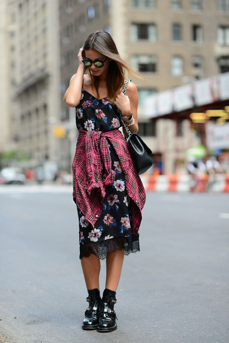 90's grunge inspired look.  Floral slip with lace details, flannel plaid shirt and hard buckled booties.